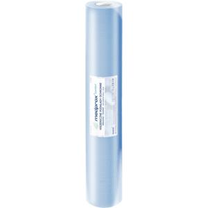 Obrazek Podkład podfoliowany 2W papieru + 1W folii kolor niebieski Prześcieradło jednorazowe papierowe podfoliowane 60/40 m perforacja co 50 cm 80 odcinków 18 rolek (2 kartony)