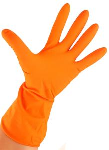 Obrazek Rękawiczki gumowe L Rękawice gospodarcze gumowe L pomarańczowe 1 para