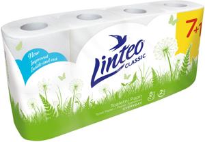 Obrazek Papier toaletowy Linteo 2 warstwowy celulozowy Opakowanie 8 rolek po 15 m