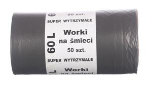 Obrazek Worki na śmieci super wytrzymałe 60L 50szt czarne LDPE
