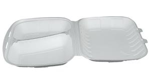 Obrazek Pojemnik jednorazowy styropianowy menubox 2-dzielny opakowanie 125 sztuk