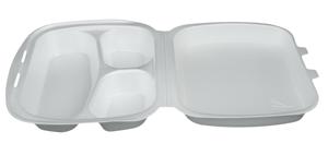 Obrazek Pojemnik jednorazowy styropianowy menubox 3-dzielny opakowanie 125 sztuk