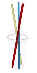 Obrazek Kubek jednorazowy plastikowy do szejka + wieczko wypukłe 425 ml 50 sztuk