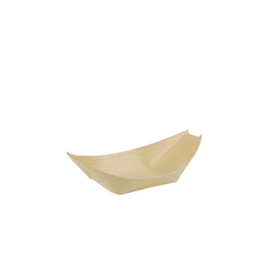Obrazek Łódka mała z drewna sosnowego SUSHI talerze jednarozwe 11x6,5 cm 50 sztuk