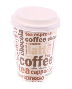 """Obrazek Kubek jednorazowy do kawy herbaty z nadrukiem """"Coffe Tea"""" z wieczkiem  0,3L 100 szt."""