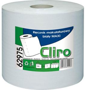 Obrazek Ręcznik papierowy z makulatury CLIRO 65% BIAŁOŚCI Ręczniki papierowe makulaturowe FI 19 138 m 6 rolek