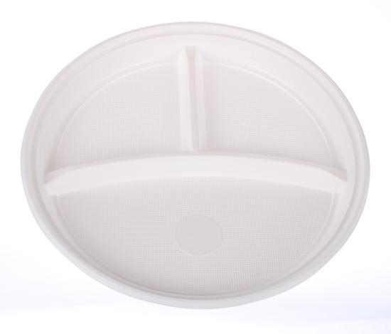 Obrazek Jednorazowy talerz plastikowy trójdzielny śr. 22 cm 100 szt.