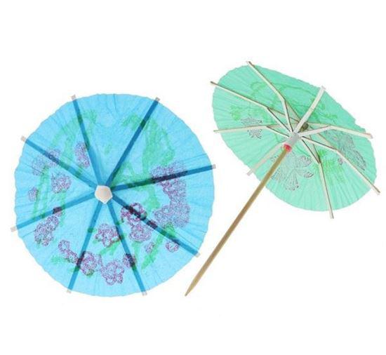 Obrazek WYPRZEDAŻ Parasolki koktajlowe do drinków papierowe kolorowe opakowanie 10 szt. WYPRZEDAŻ -15%