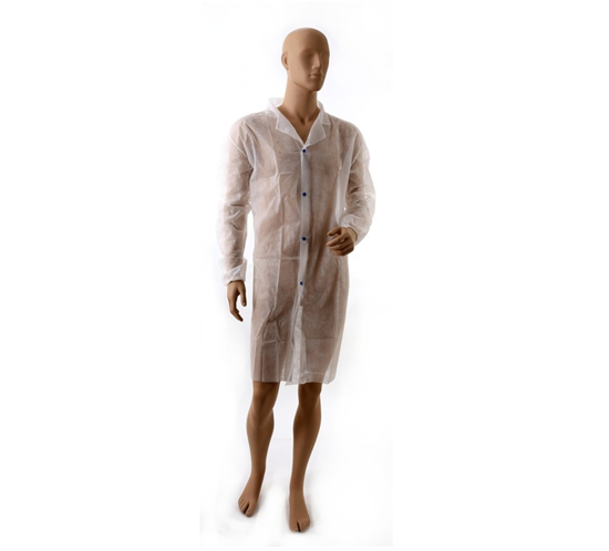 Obrazek Fartuch ochronny jednorazowy Fartuch na napy włókninowy z długim rękawem XL/XXL Kolor biały 1 sztuka H
