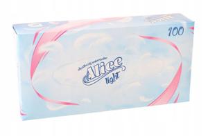 Obrazek Chusteczki higieniczne 2 warstwowe w kartoniku 100 szt. Chusteczki Alice light