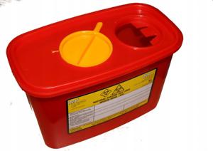 Obrazek Pojemniki na zużyty sprzęt medyczny. Pojemnik na odpady medyczne, kosmetyczne 1 L prostokątny