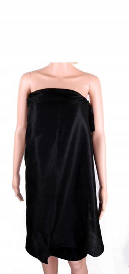 Obrazek Peleryny kosmetyczne Pareo jednorazowe czarne z miękkiej włókniny Pelerynka kosmetyczna wiązana rozmiar uniwersalny 1 szt.