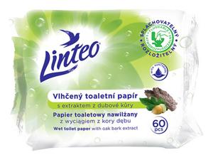 Obrazek Papier toaletowy nawilżany Linteo z wyciągiem zkory dębu 60 sztuk