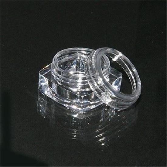 Obrazek Pojemniczek na ozdoby kwadratowy 3x3 cm 5 szt. Pojemniczki plastikowe do przechowywania brokatu cyrkonii itp