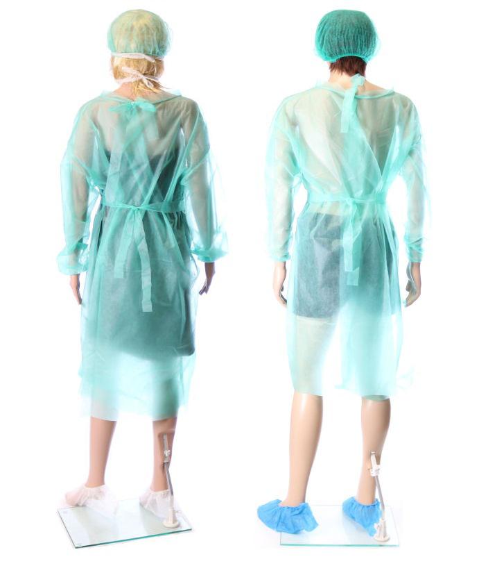Obrazek Fartuch jednorazowy ochronny medyczny Fartuchy jednorazowe z białej włókniny certyfikat medyczny kolor zielony M/L 1 szt. gramatura 17/m2