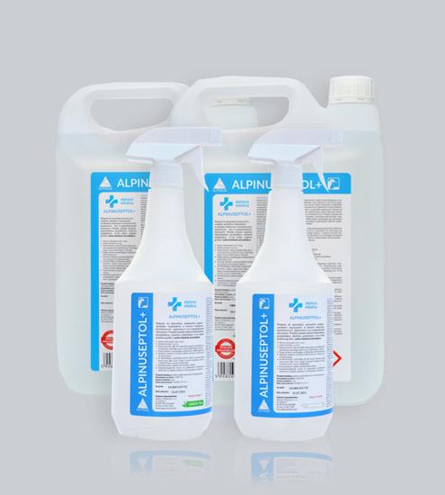 Obrazek ALPINUSEPTOL + 5L płyn do mycia i dezynfekcji powierzchni gotowy do użycia 30 sekund działanie bakteriobójcze, grzybobójcze, prątkobójcze, wirusobójcze  Zapach zielonej herbaty